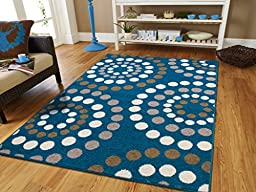 New Fashion Large 8x11 Abstract Soft Rugs For Living Room Blue Rugs 8x10 Area Rugs Clearance Rugs with Circles Dots Rugs Blues Cream Brown Gray Modern Rugs, 8x11 Size Rugs