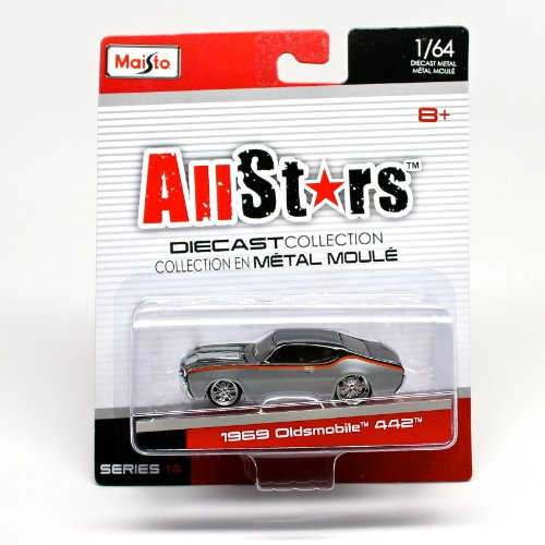 1969 Oldsmobile 442 (Gray & Black) * All Stars Series 14 * 2014 Maisto 1:64 Scale Die-Cast Collection