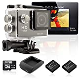 ANART® Ex Series An-ExT 2.0inch Sports Action Camera + 16GB SD Card + Extra Battery + Battery Charger Case Full HD 1080P 140 Degree Waterproof Digital Mini Video Black 12MP WIFI Sport Cameras w/HDMI