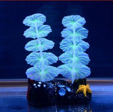Aquarium fish tank Luminous Night Lights Artificial Lotus Leaf Plants Glowing Effect Decoration Ornament (Refugium Tank compare prices)