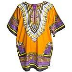 Ragstock Traditional African Print Unisex Dashiki, Light Orange