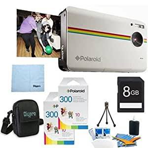 Polaroid Z2300 10MP Digital Instant Print Camera (White) BUNDLE with 60 extra ZINK Sheets of Paper, 8GB Card, Case, Mini Tripod + MORE!