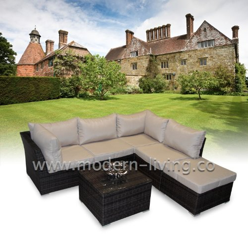 Roma 6pc Rattan Garden or Conservatory Furniture Corner Sofa Set