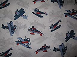 Sky Hawk Vintage Blue and Red Airplane Sheet Set Twin