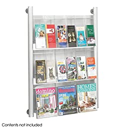Safco Luxe Magazine Display Rack - 9 pocket, Silver-SL