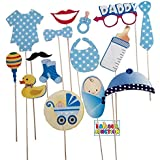 Balloon Junction Photo Booth Props Baby Shower - Set Of 15 Pcs - Blue (blue)