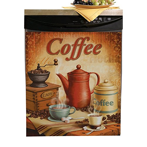 Collections Etc Vintage Coffee Kitchen Magnetic Dishwasher Cover