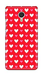 Amez designer printed 3d premium high quality back case cover for Meizu M3 Note (Heart Pattern10)