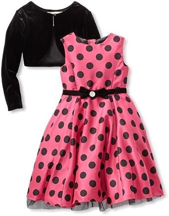 Rare Editions Little Girls' Cardigan Dress, Pink/Black, 4