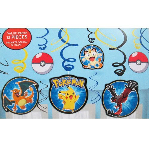 Pokemon 'Pikachu and Friends' Hanging Swirl Decorations (12pc) - 1