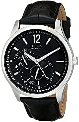 GUESS Men's U95152G1 Contemporary Black Leather Dress Watch