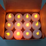 12-Pack Tealight Candle LED White, Yellow Flickering Flame