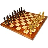 "StonKraft 16"" X 16″ Collectible Rosewood Wooden Chess Game Board Set+Brass Roman Figure Pieces (Delivery < 7 Days)"