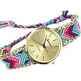 (ラボーグ) La Vogue レディース ウォッチ 石英の腕時計 復古 アナログ式 ブレスレット風 ミサンガ ボヘミアン スタイル 刺繍柄 6種類 男女兼用