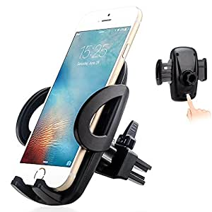 EXSHOW Release Mechanism Universal Air Vent Car Phone Mount Holder with Swivel Head for 3.5-6 inches Cell Phones and GPS (Black) ¡