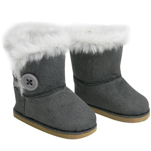 Stylish 18 Inch Doll Boots. Fits 18 Inch American Girl Dolls & More! Doll Shoes of Gray Suede Style Boots W/ Button & White Fur - 1