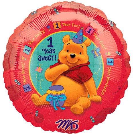 "18"" Pooh's First Birthday Balloon - 1"