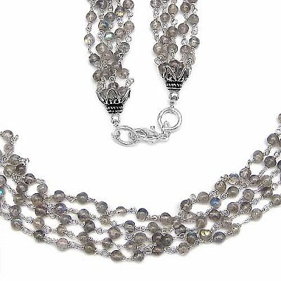 Jewelry-Schmidt-Gemstone necklace / chain-labradorite-925-330 Rhodium plated sterling silver beads