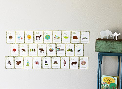 English Alphabet 5×7 Wall Cards, Nature Themed, Kid's Wall Art, Nursery Decor, Kid's Room Decor, Gender Neutral Nursery Decor