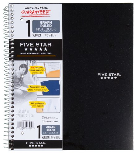 Five Star Spiral Notebook, Graph Ruled, 1 Subject, 8.5 x 11 Inches, 100 Sheets, Assorted Colors (06190)
