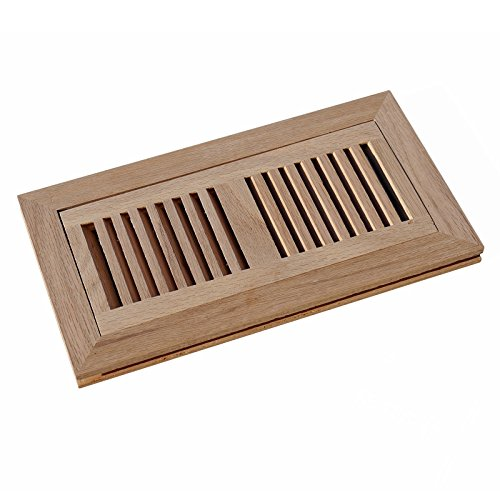 WELLAND® 4 Inch x 14 Inch Red Oak Wood Vent Cover Floor Register Louvered with Frame Flush Mount, Unfinished (Heat Register Cover Oak compare prices)