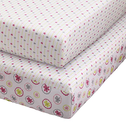 Stork Craft Pattern Play 2 Piece Fitted Crib Sheets, Pink/Gray