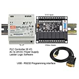 PLC Ladder Logic Programmable Controller & Software Starter Kit 24V, 12 Inputs, 8 Relay Outputs USA w Power Supply DIN