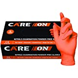 SKINTX CARE ON50015-L-BX Orange Nitrile Exam Gloves, Powder-Free, 6 mil, Palm Textured, Latex-Free, Non Sterile, Ambidextrous, Large, Orange (Pack of 100)