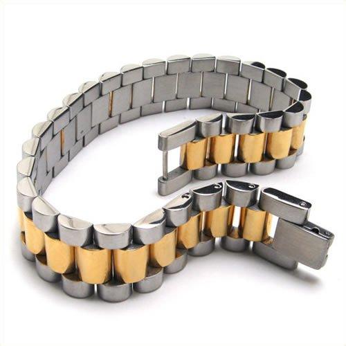 KONOV Jewelry Stainless Steel Link Mens Bangle Bracelet, Gold Silver, 8 3/4 Inch