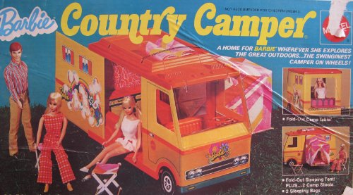 Barbie COUNTRY CAMPER Playset w Fold Out SLEEPING TENT & MORE! (1970 Mattel Hawthorne) (Barbie Doll Camper Van compare prices)