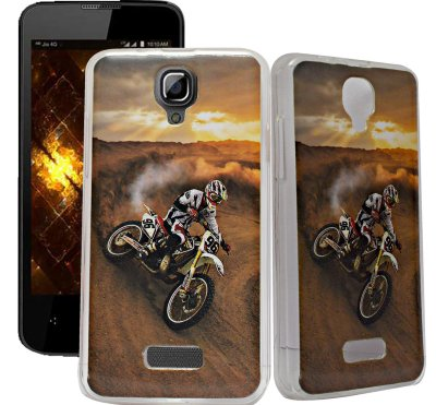 ECellStreet Exclusive Transparent Printed Soft Back Case Cover Back Cover For Reliance Jio Lyf Flame 5 - Biker
