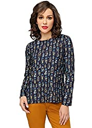 Funk for Hire Women Rayon Doll printed Full Sleeve Top ( Navy Blue, Size M)