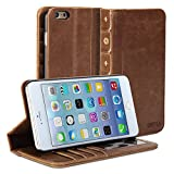 Gmyle Book Case Vintage for iPhone 6 Plus - Root Beer Brown