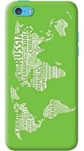Kasemantra World Map In Green Case For Apple iPhone 5C