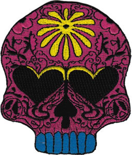 Application Yellow Flower Power Candy Skull Patch