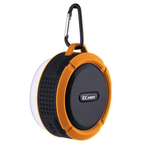 Ecandy(イケンディ)IP65防水Bluetoothシャワースピーカー取り外し可能なサクションカップ付き5Wストロングドライブ (オレンジ)