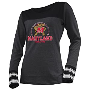 NCAA Maryland Terrapins Ladies Striped Long Sleeve Tee, Graphite Heather by Ouray Sportswear