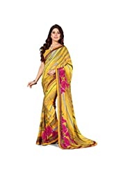 Anusha Gold,Medium Voilet Red Georgette Self Printed With Attached Border Saree