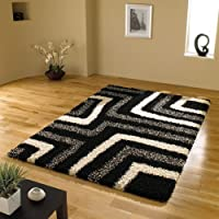 "Large Quality Shaggy Rug in Black & Grey 160 x 230 cm (5'3"" x 7'7"") Carpet from Lord of Rugs"