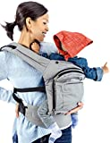Mo+m® Classic Cotton 3 Position Baby Carrier (Stone Grey) - Soft Structured, Ergonomic Sling w/ Mesh Cooling Vent, Hood & Pockets - Great Gift for New Moms