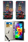 HTC One M8 / HTC One 2 2014 Model Vintage London Heritage Inspired PU Leather Book Wallet Flip Case Cover in DOUBLE DECKER RED BUS with MINI Capacitive Stylus Touch Screen Pen, Screen Protector and Polishing Cloth