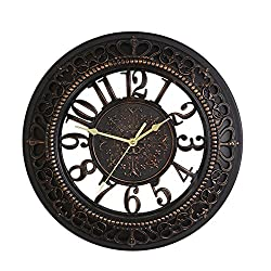 Foxtop 14 Inch European-style Vintage Retro Antique Royal Style Resin Wall Clock, Creative Home Living Room Boutique Hotel Mute Wall Clock (Black)