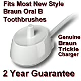 Braun Oral-B Toothbrush Trickle Charger D20. Type 3757. Fits most New Style toothbrushes. See next page for all compatible models. Professional Care, Triumph, Denta Pride,Tri Zone (with and without Smart Guide) Plak Control 3d