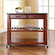 Hot Sale Crosley Furniture Solid Black Granite Top Kitchen Cart/Island with Optional Stool Storage in Classic Cherry Finish