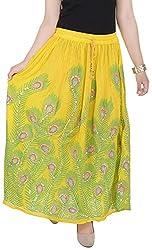 Soundarya Women's Cotton Skirt (Yellow)