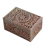 Hand Carved Square Shaped Box Soapstone Carving Lattice Design Home Accent Gifting Decorative Table Top Accessory
