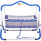 Jubilant Lifestyle Compact Multipurpose 2 In One Baby Cradle Cum Stroller With Mosquito Net (BLUE)
