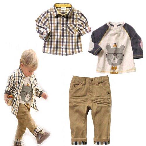 SOPO per bambini da ragazzo Casual 3 pezzi Set (T-Shirt + Plaid maglietta + cachi pantaloni) 1-5 Y