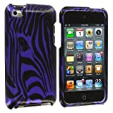 Purple Zebra Face Design Crystal Hard Skin Case Cover New for Apple Ipod Touch iTouch 4th Generation Gen 4g 4 8gb 32gb 64gb - Electromaster(TM) Brand