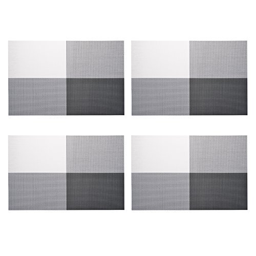 Kloud City ® 4 Pcs Black & White Grid Pattern Chromatic Pvc Weave Heat Insulation Anti-Skidding Dining Room Placemat Table Mat